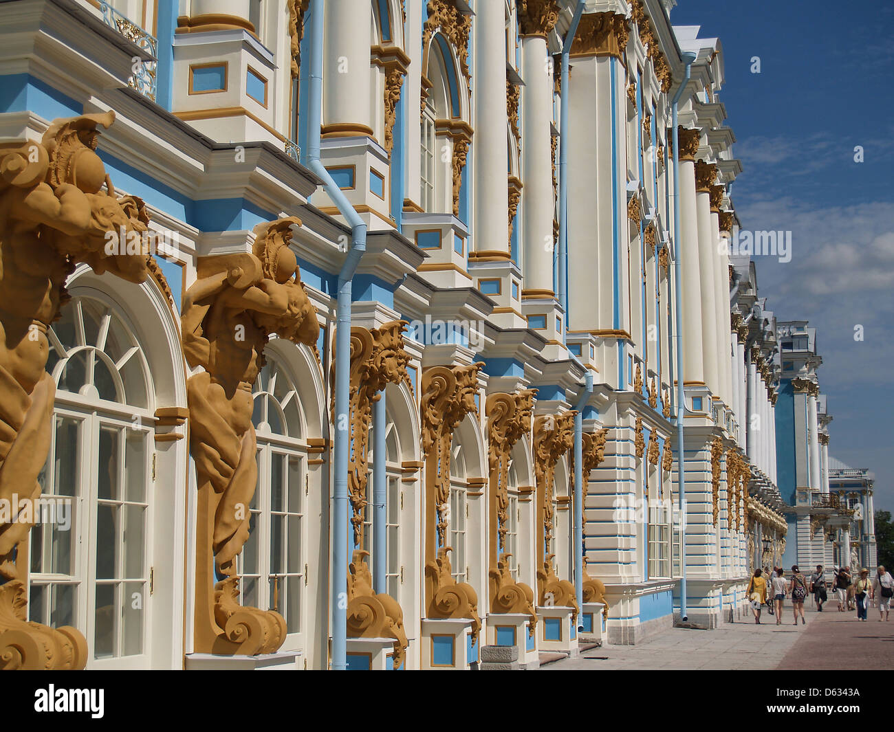 Exterior of Catherine Palace at Tsarskoe Selo,Russia - Stock Image