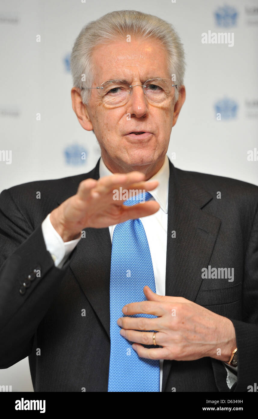 Italian Prime Minister Mario Monti meets with officials from financial institutions the London Stock Exchange. London, - Stock Image