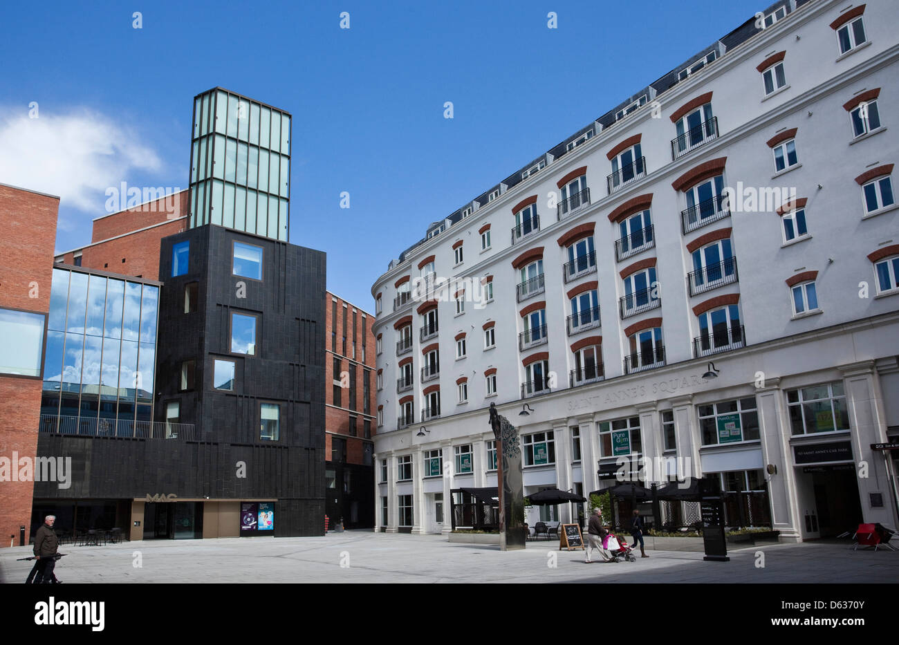 Saint Annes Square, Cathedral Quarter, Belfast, Northern Ireland, Restaurants, Entertainment, Residential, The Mac, - Stock Image