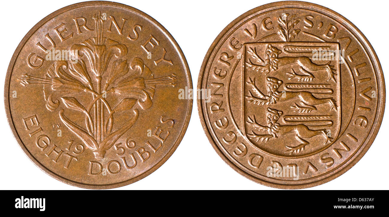 Guernsey coin of 1956 - Eight Doubles - excellent condition - Stock Image