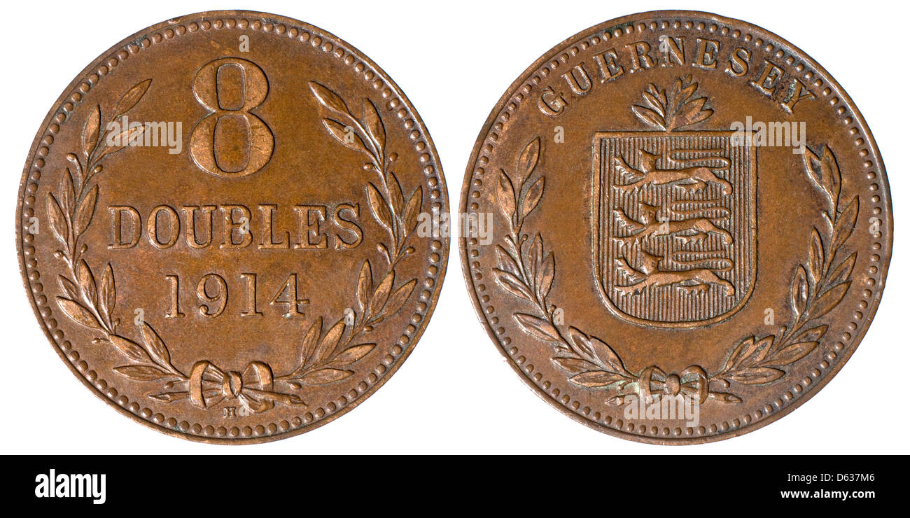 Guernsey coin of 1914 - Eight Doubles - Stock Image