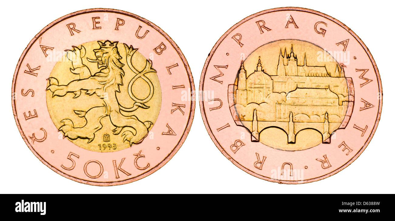Czech 50Kc coin (bimetallic, 1993) - Stock Image