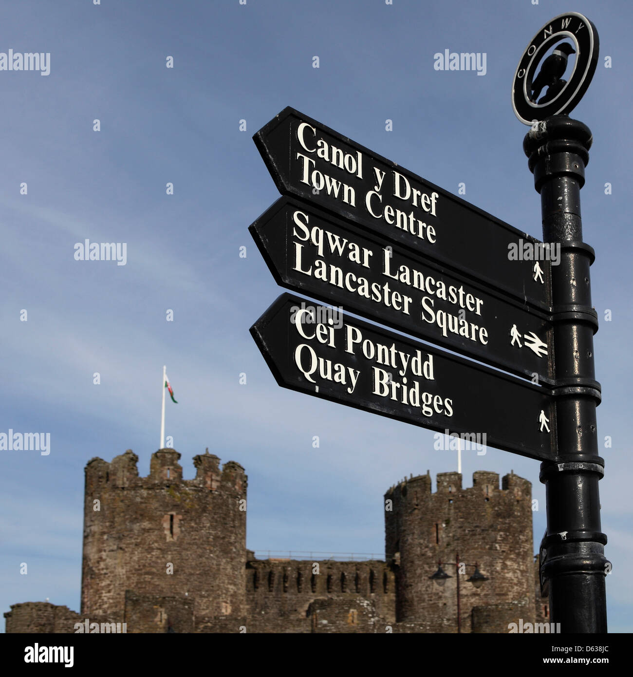 Local points of interest are listed on a sign by Conwy Castle in Wales. - Stock Image