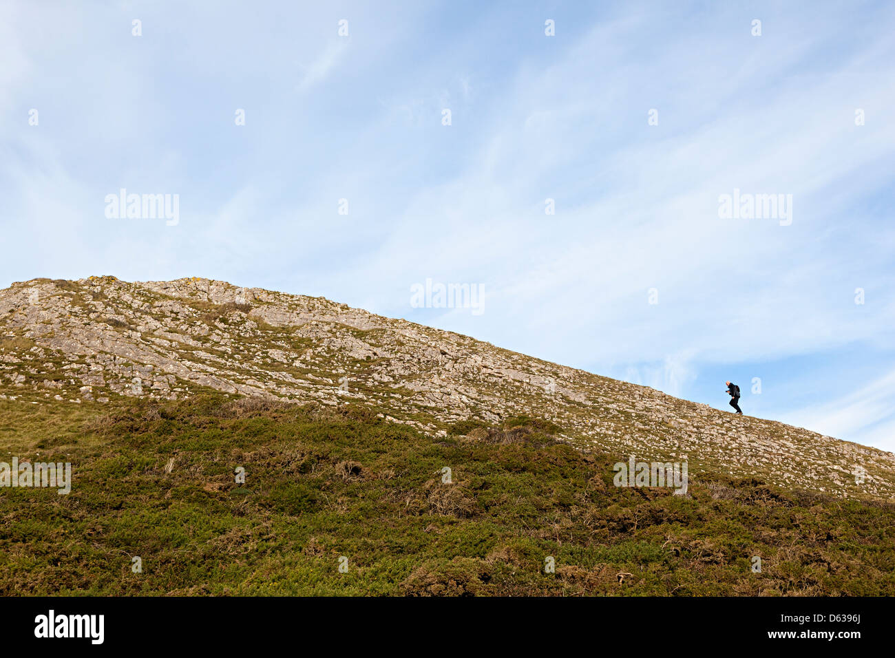 Person walking up slope on Worm's Head, Rhossili, Gower, Wales, UK - Stock Image