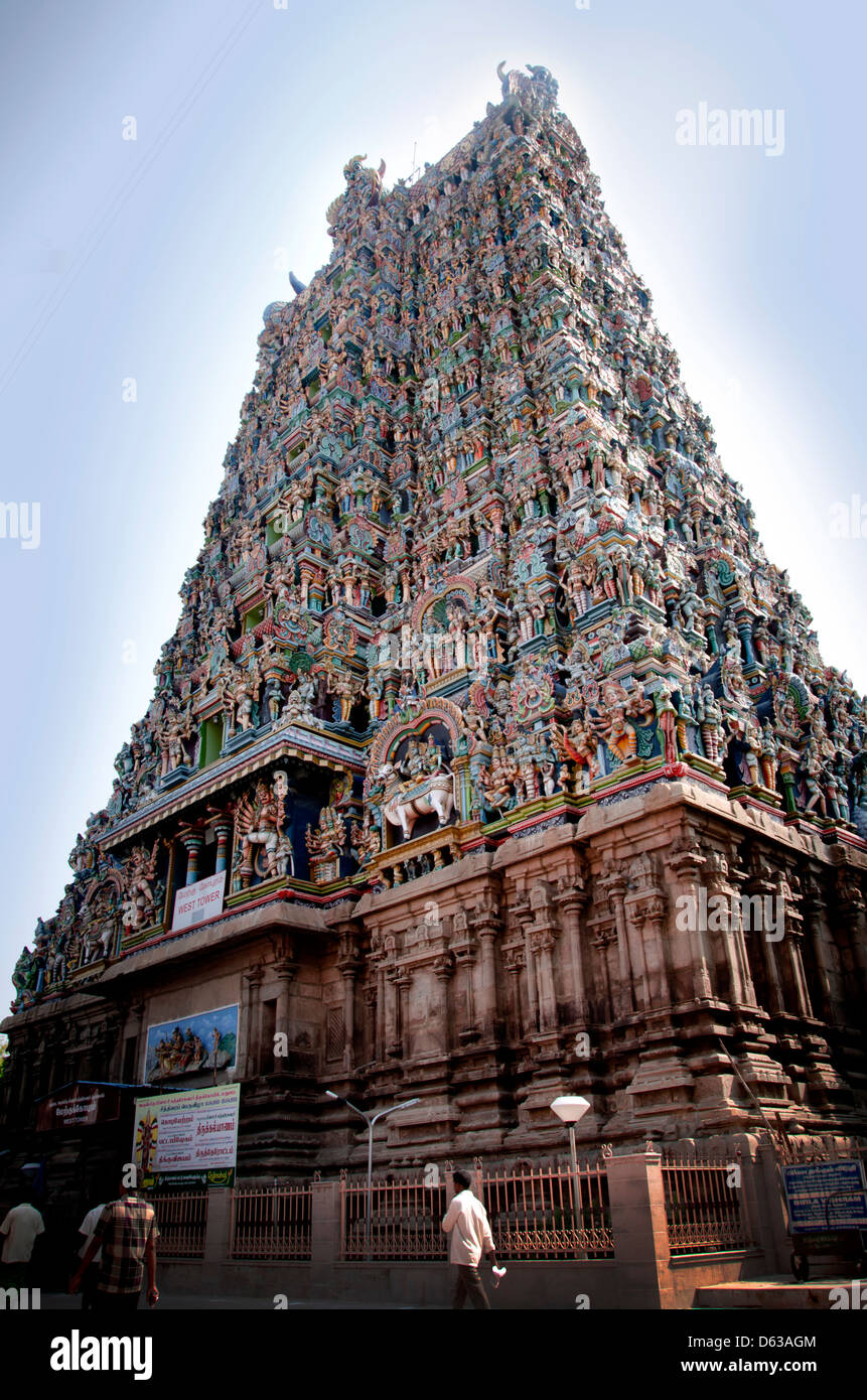 Madurai is an energetic, ancient city on the Vaigai River in the South Indian state of Tamil Nadu. Its skyline is - Stock Image