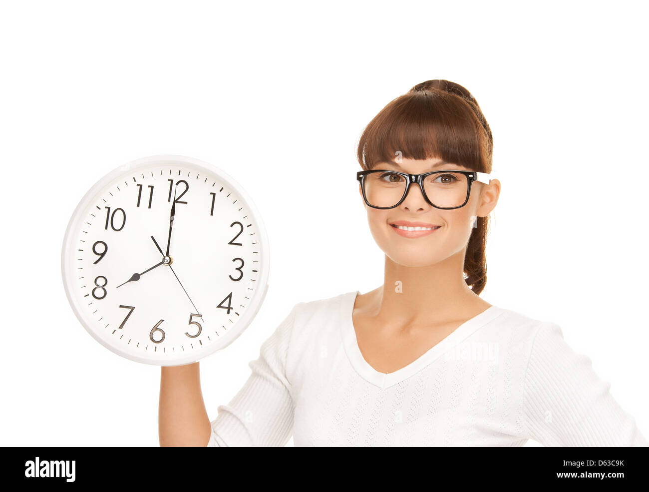 businesswoman with wall clock - Stock Image