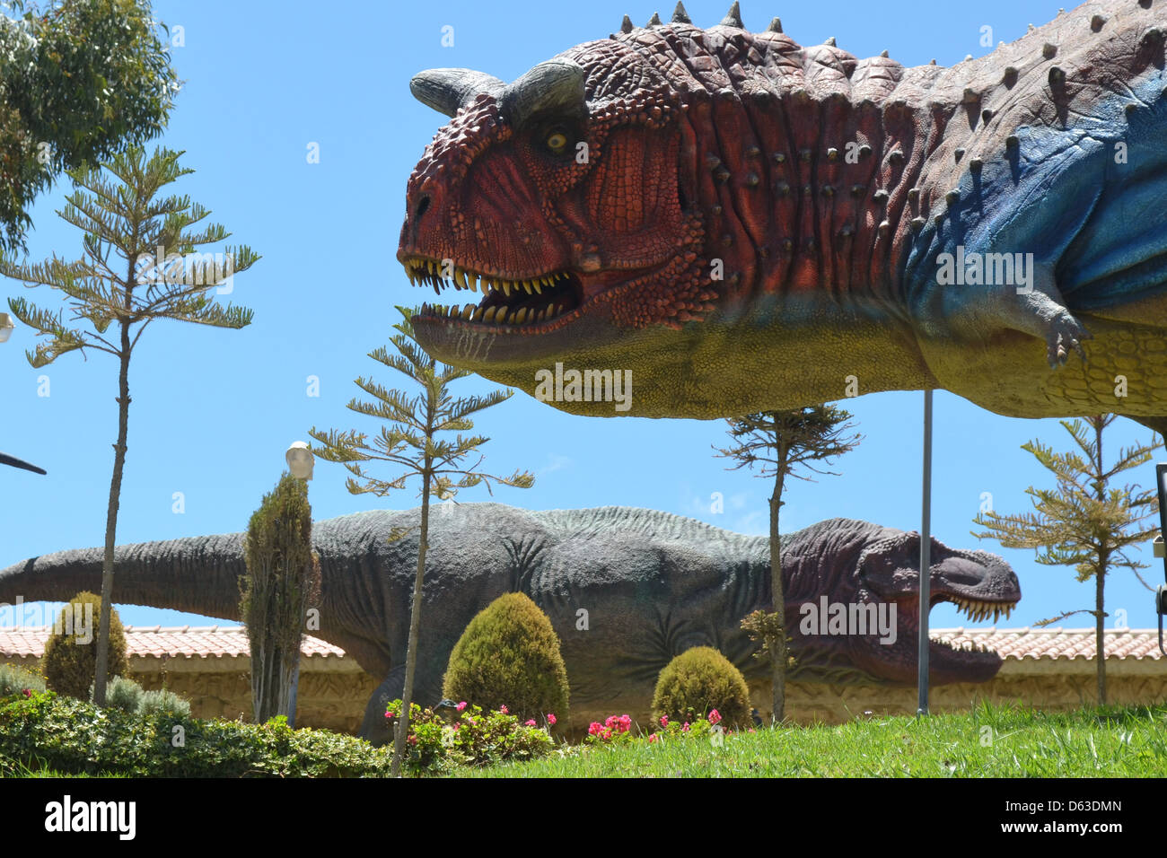 Parque Cretacico, Sucre - Dinosaur themed park in Bolivia with fossils and life-size statues Stock Photo