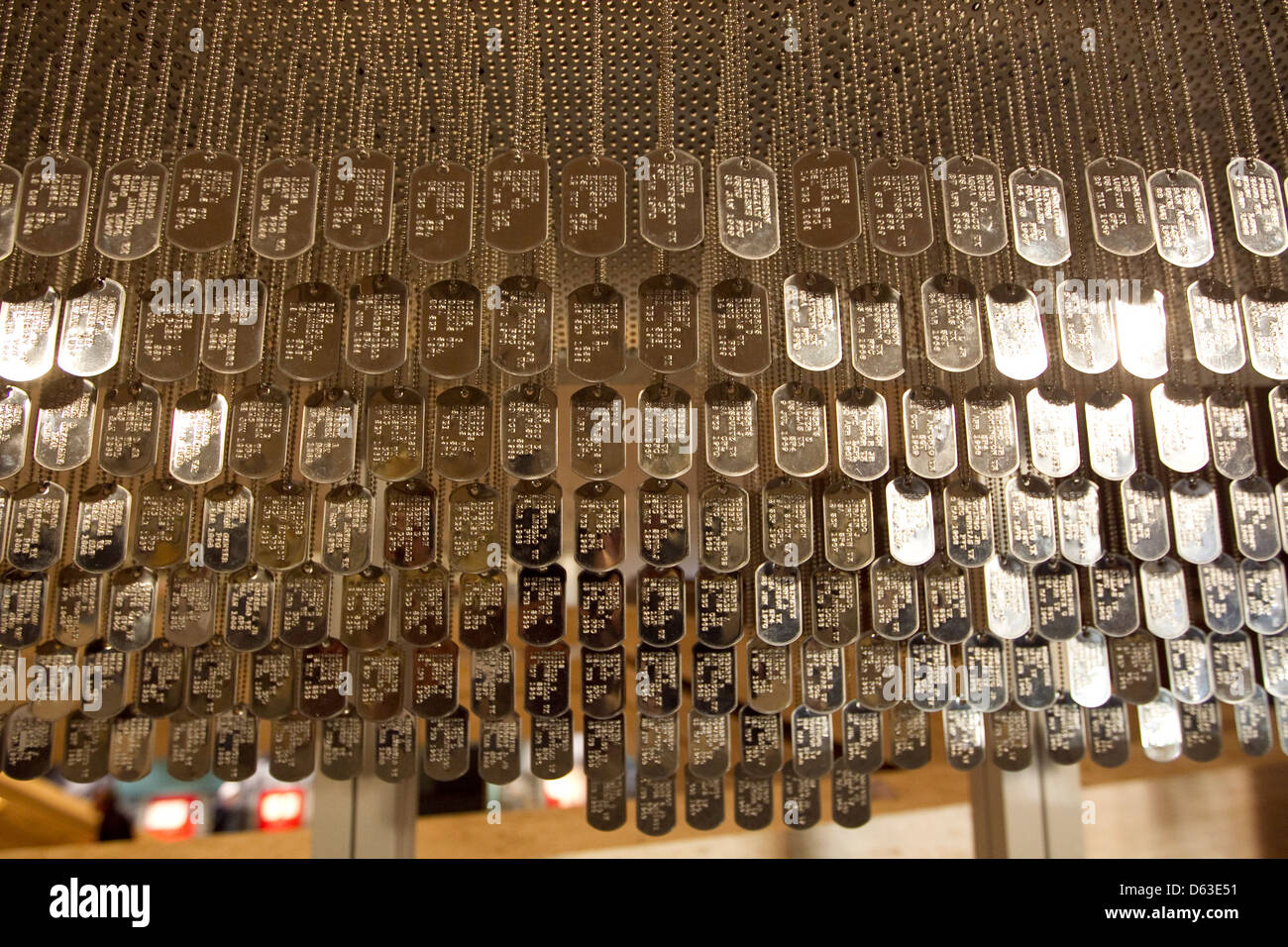 LBJ Museum in Austin, Texas where copies of military dog tags from Veterans from the Vietnam war were placed on - Stock Image
