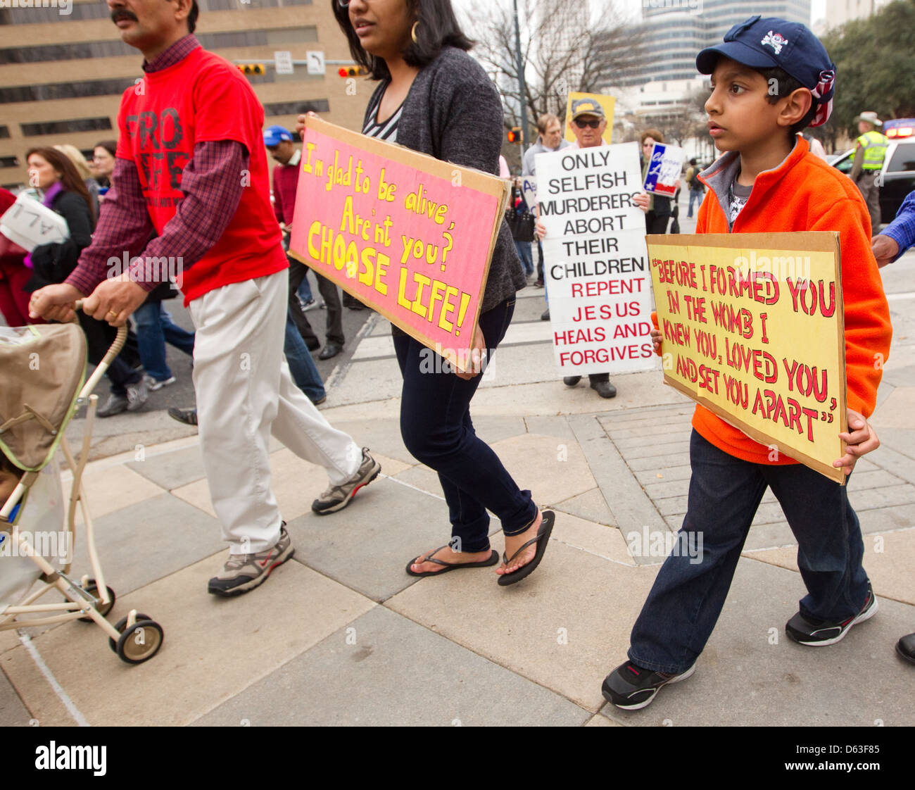 Anti-abortion, pro-life citizens and clergy attend rally at the Texas Capitol in Austin, Texas - Stock Image