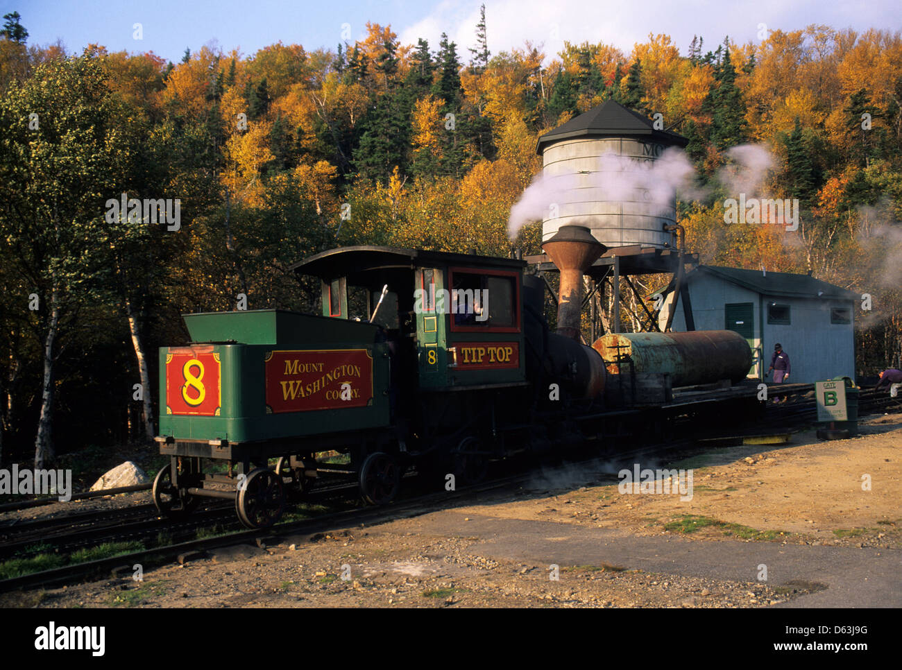 Elk281-1571 New Hampshire, White Mtns, Crawford Notch, Bretton Woods, Mt Washington Cog Railway - Stock Image