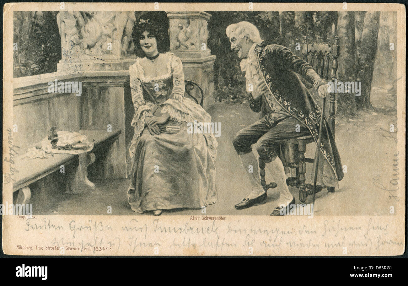 Old German postcard of 1912. Engraving 'The old philanderer' by Theodor Stroefer - Stock Image