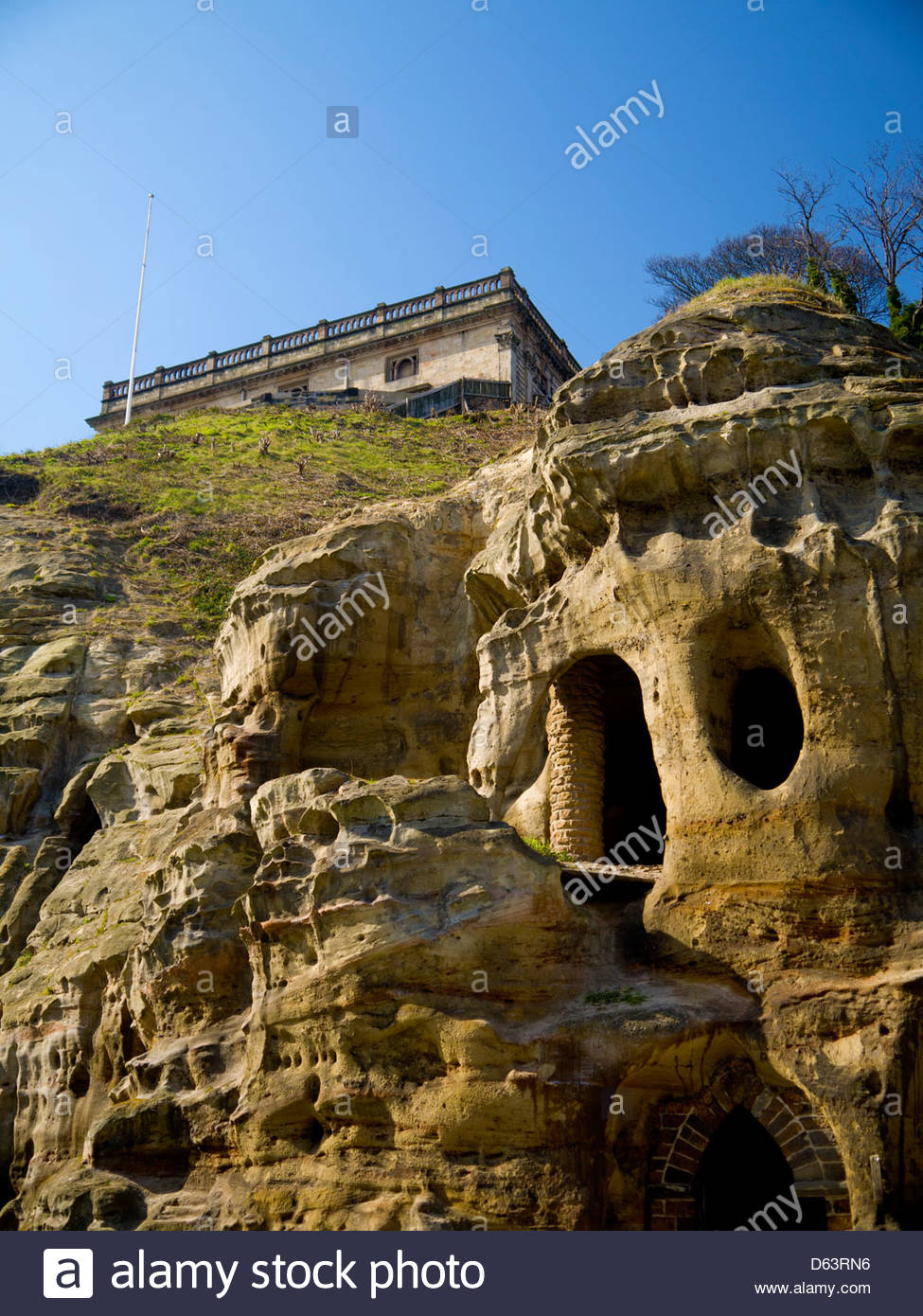 Nottingham Castle Above Sandstone Caves - Stock Image
