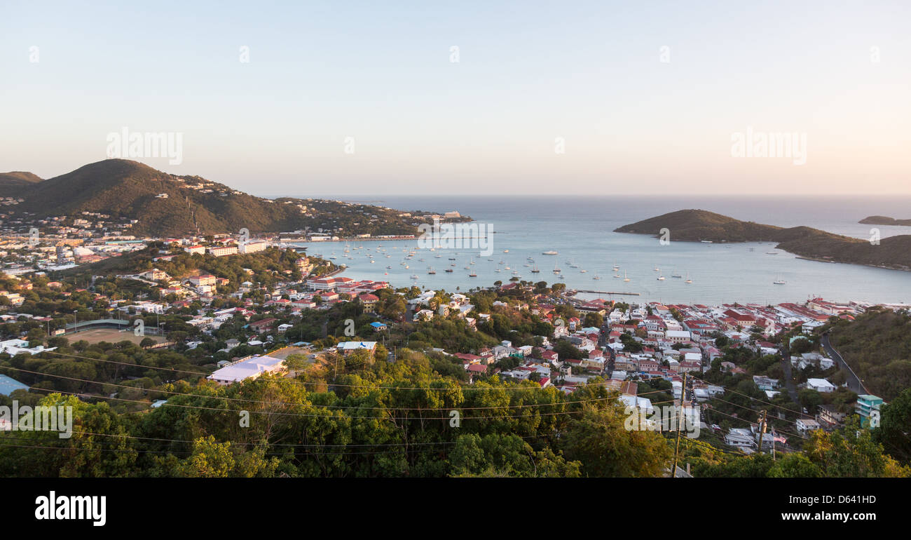 Sunset over the town and harbor of Charlotte Amalie in St Thomas, US Virgin Islands Stock Photo