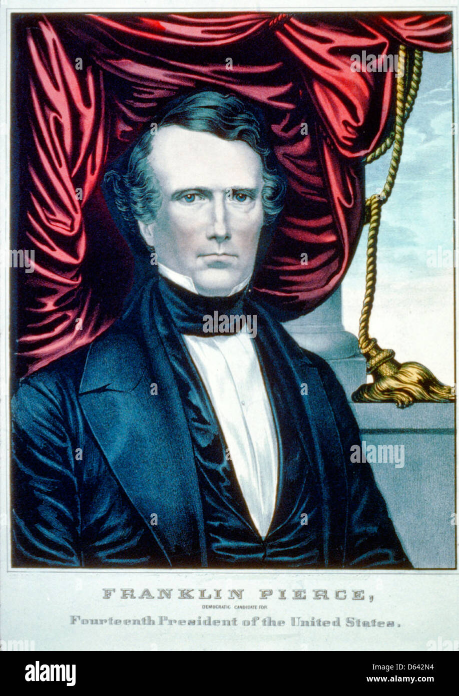 Franklin Pierce: Democratic candidate for fourtheenth president of the United States, Campaign Poster, circa 1852 - Stock Image