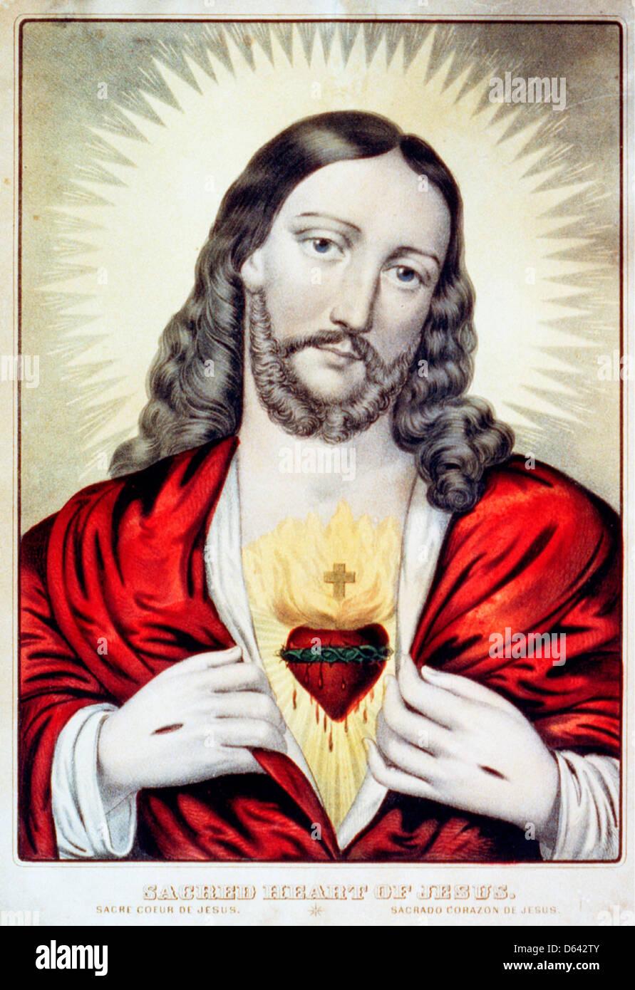 Sacred Heart of Jesus: Sacre ́Coeur de Jesus / Saǵrado Coŕazon de Jesus - hand colored lithograph, circa 1850 - Stock Image