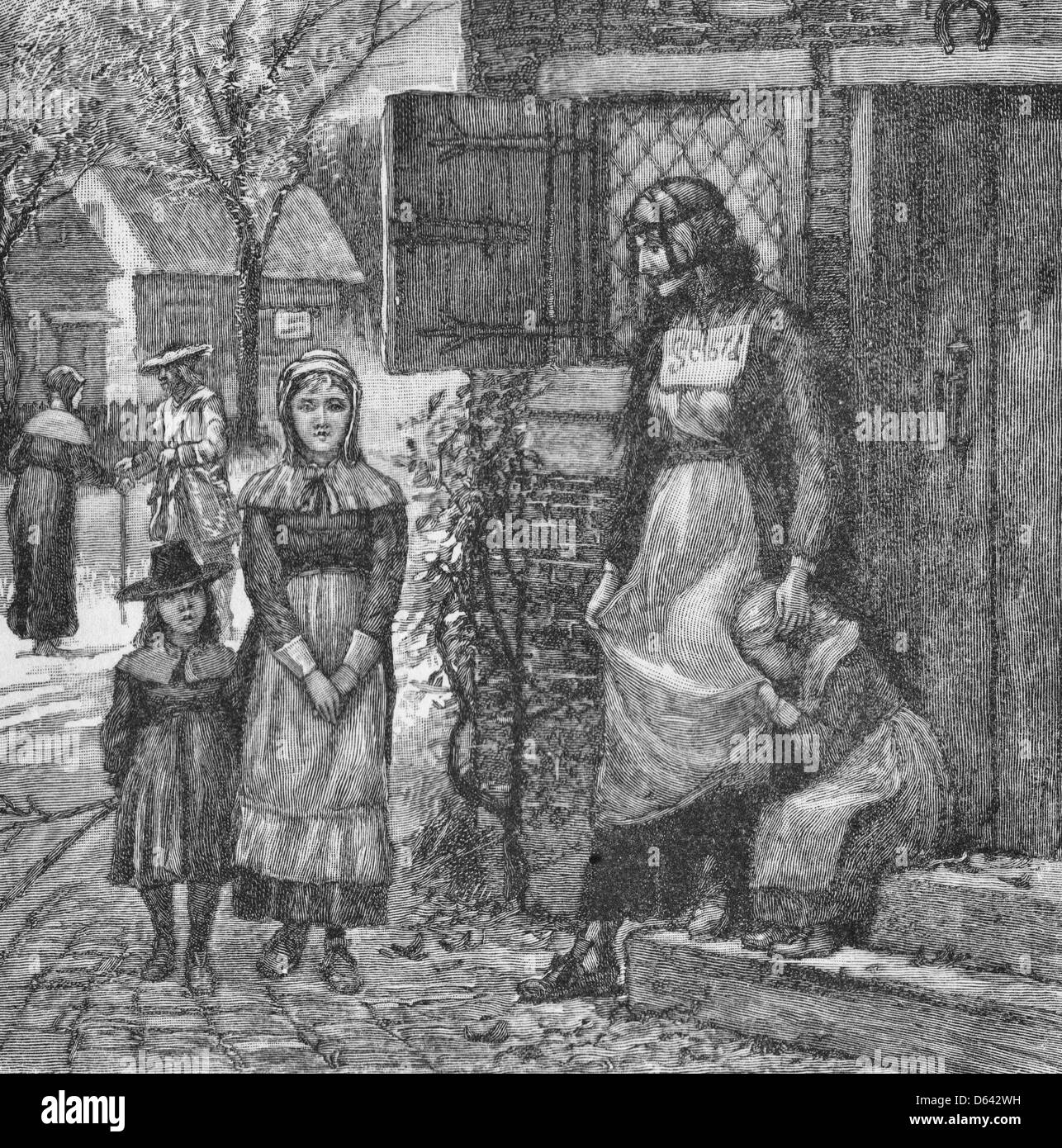A Scold's Bridle - woman silenced with a bridle and standing on the street in Colonial America, circa 1700 - Stock Image