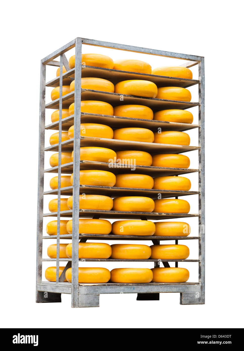 Pallet with cheese - Stock Image