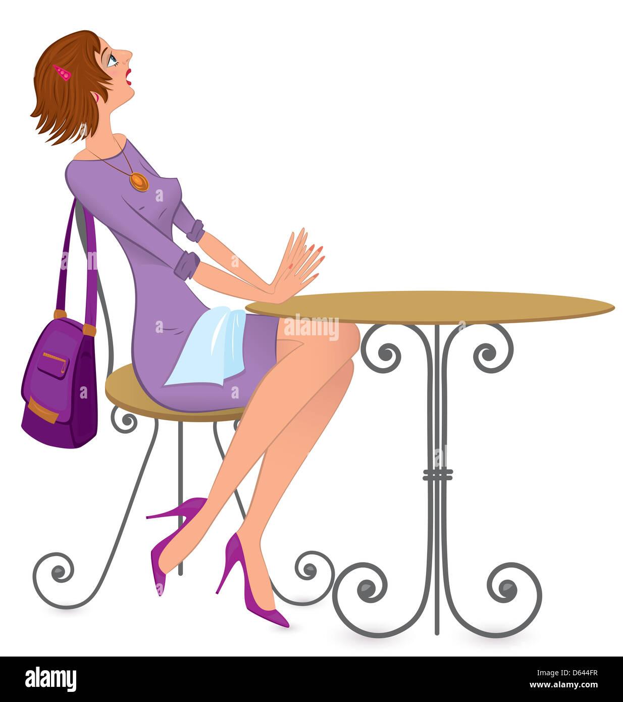 Woman with napkin  illustration Stock Photo