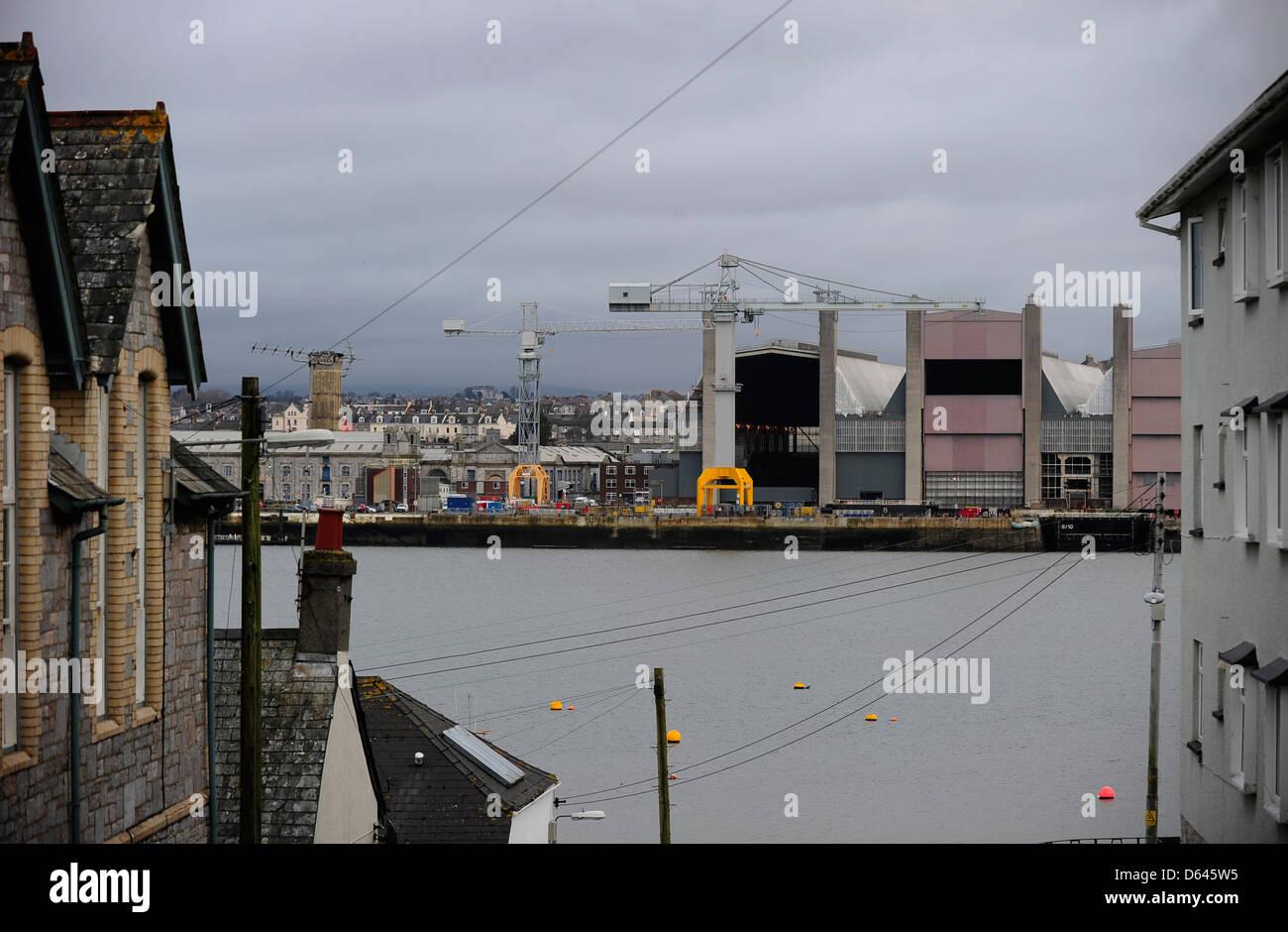 HM Dockyard Devonport, Plymouth, Devon, an MOD site, seen from across the estuary Stock Photo