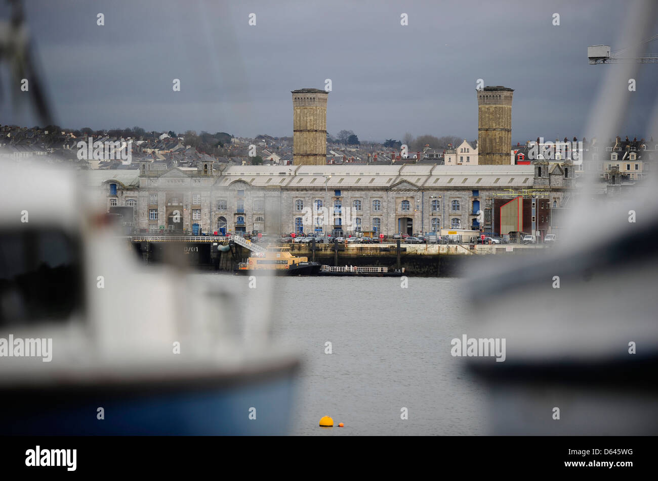 HM Dockyard Devonport, Plymouth, Devon, an MOD site, seen from across the estuary - Stock Image