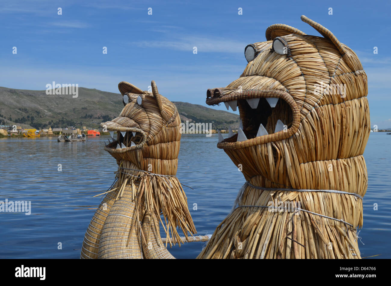 Totora reed boat, Lake Titicaca, Peru. - Stock Image