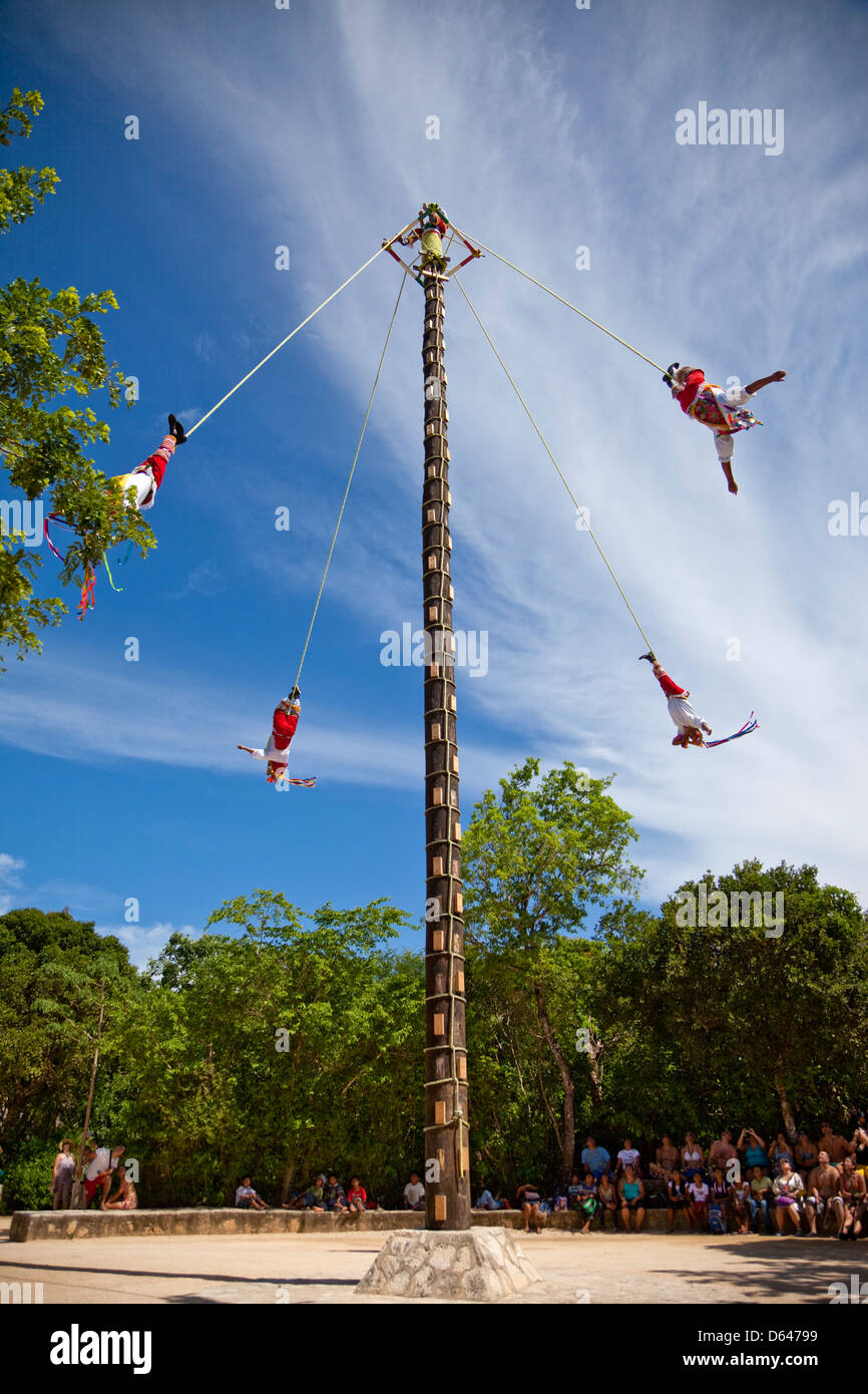 Papantla Flying Men, a Mayan ceremony performed in the spring in hope of a good harvest. Xcaret, Riviera Maya, Yucatan, - Stock Image