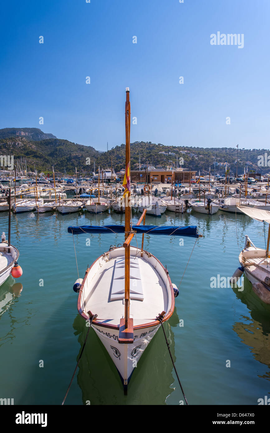 Port with boats in Balearic island - Stock Image