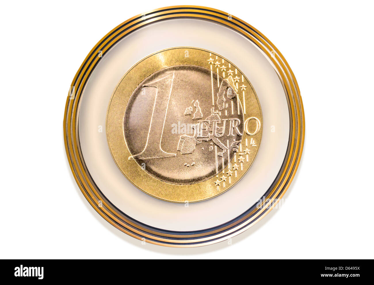 Euro coin as coat of arms on white background - Stock Image