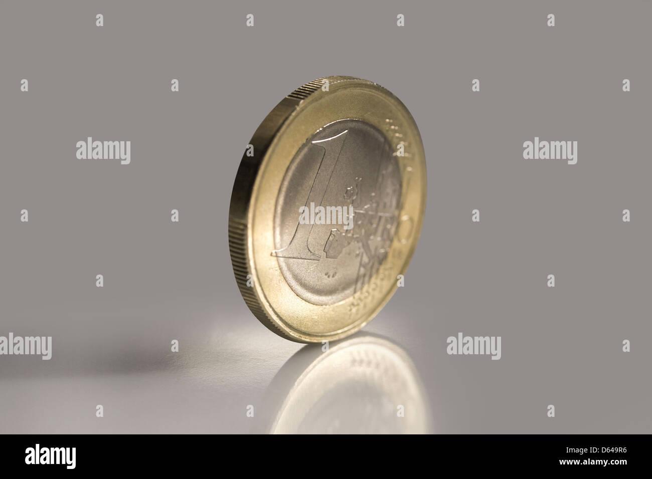 Macro shot of noble shining one Euro coin - Stock Image