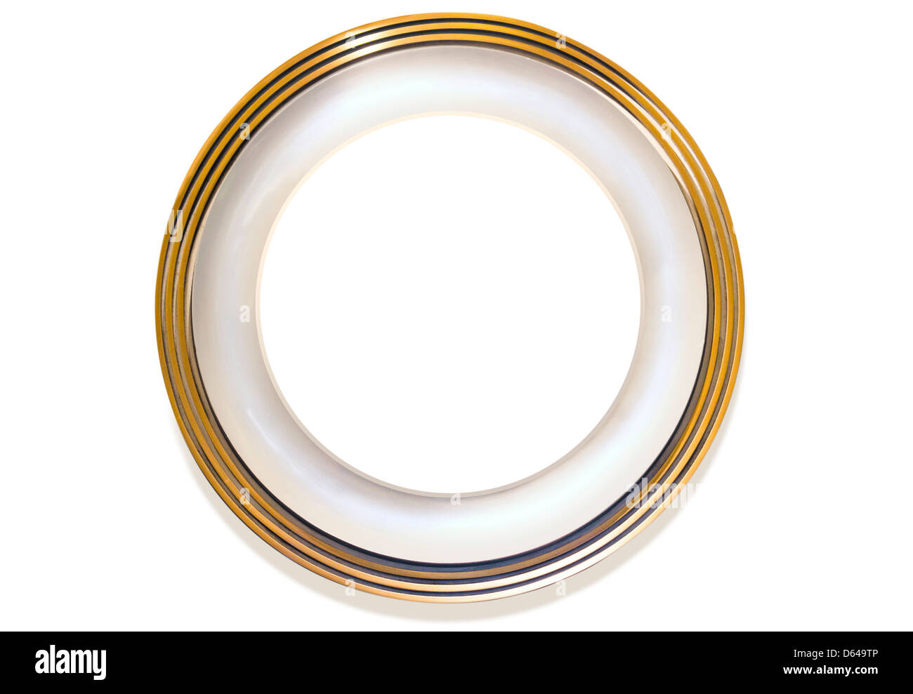 Plate with white inner circle for own content on white background - Stock Image