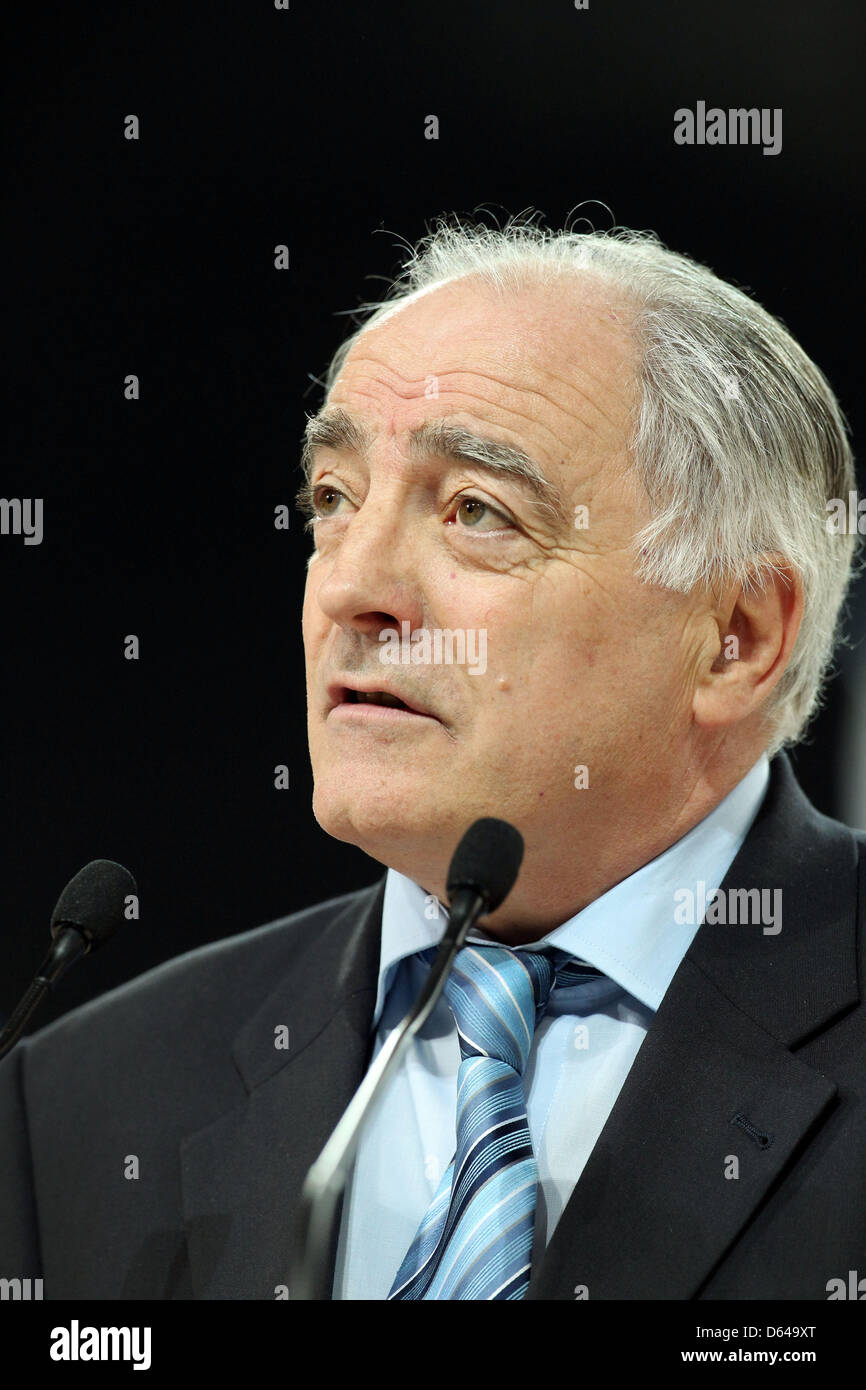 Georges Guelzec, President of the European Union of Gymnastics (UEG), speaks during the opening ceremony of the - Stock Image