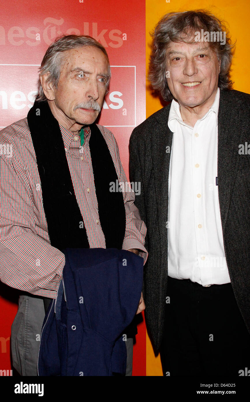 Edward Albee and Tom Stoppard 'New York Times Talks' photocall held at the Times Centre New York City, USA - Stock Image