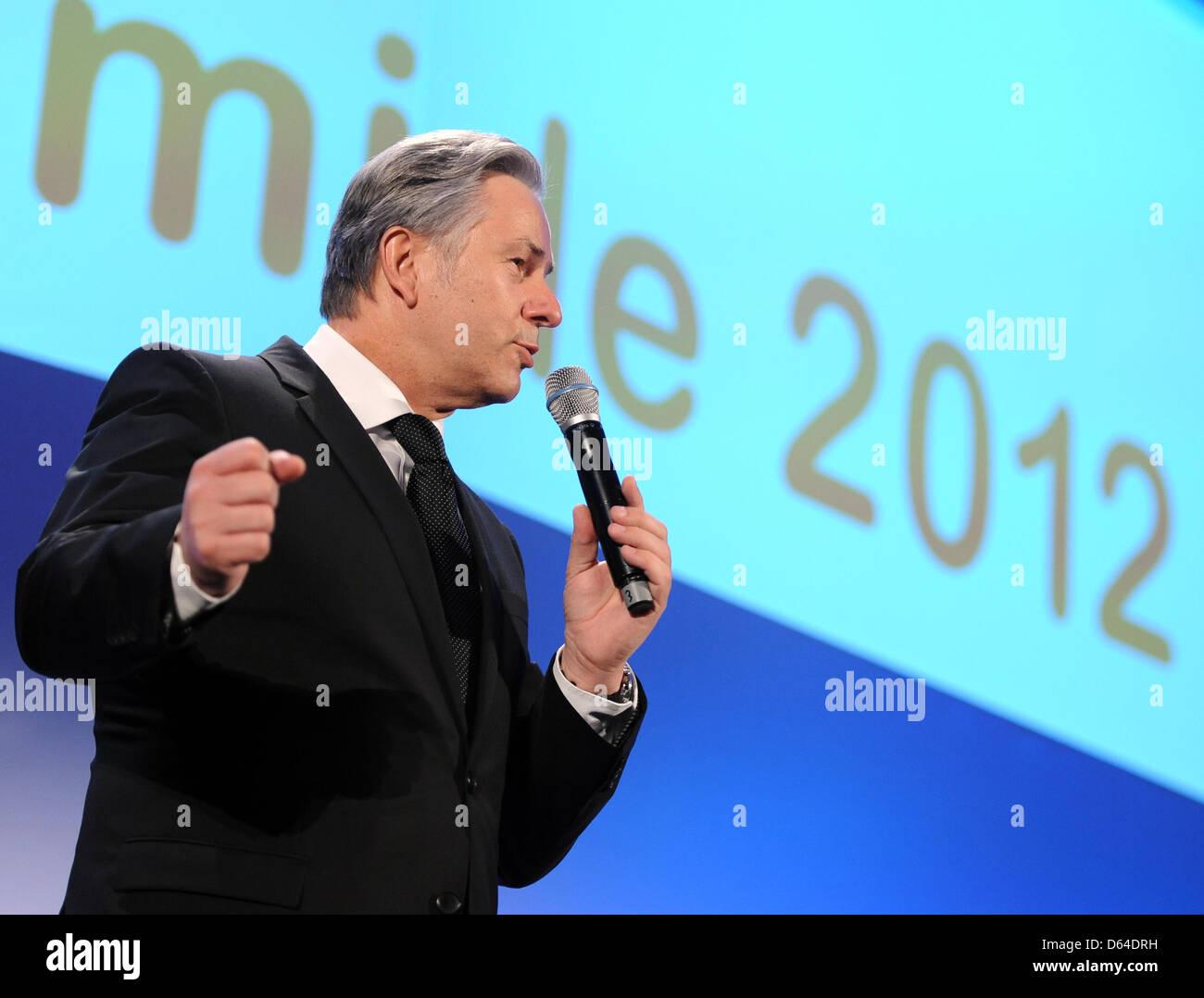 Berlins Regierender Bürgermeister, Klaus Wowereit (SPD), spricht am Freitag (25.05.2012) in Berlin bei der - Stock Image