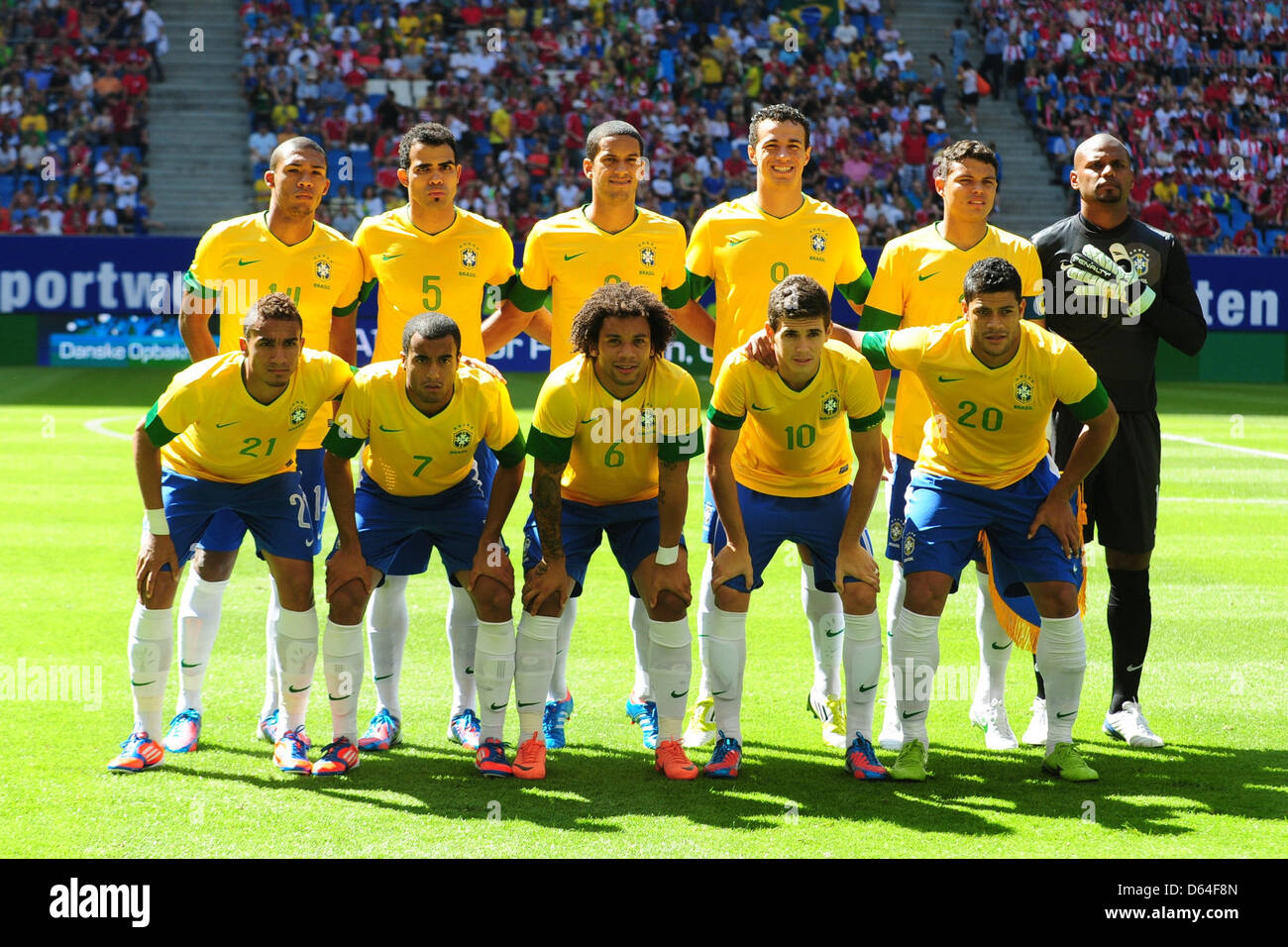 776c7424c02 The Brazilian national soccer team poses for a group photo prior to the  international soccer match between Brazil and Denmark at Imtech Arena in  Hamburg, ...