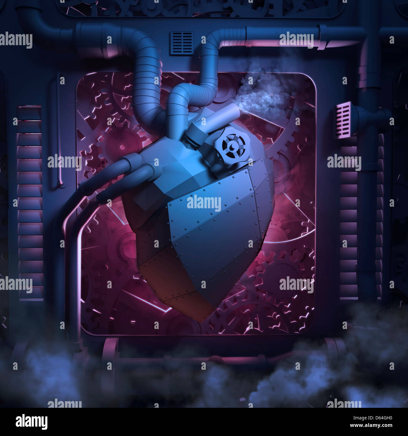 Mechanical heart, conceptual artwork - Stock Image