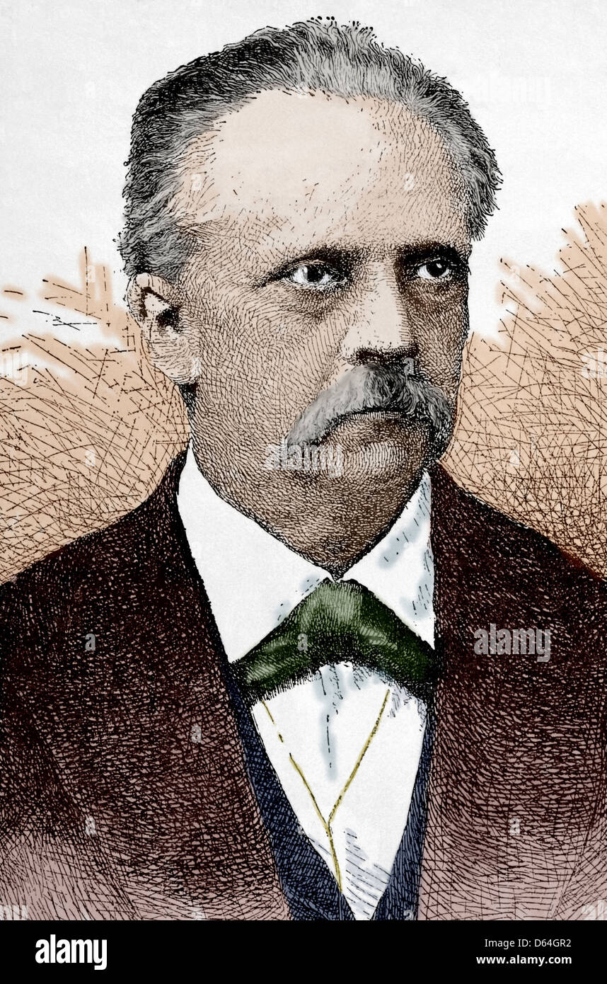 Hermann von Helmholtz (1821-1894). German physician and physicist. Engraving in Our Century, 1883. Colored. - Stock Image
