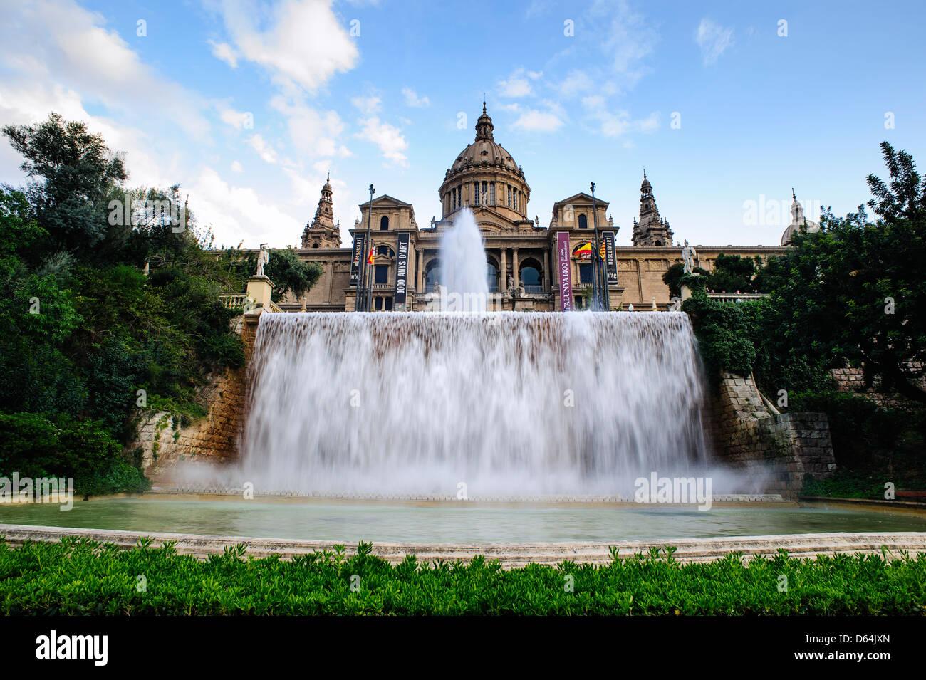 National Museum of Catalonia, Montjuic, Barcelona, Spain. - Stock Image