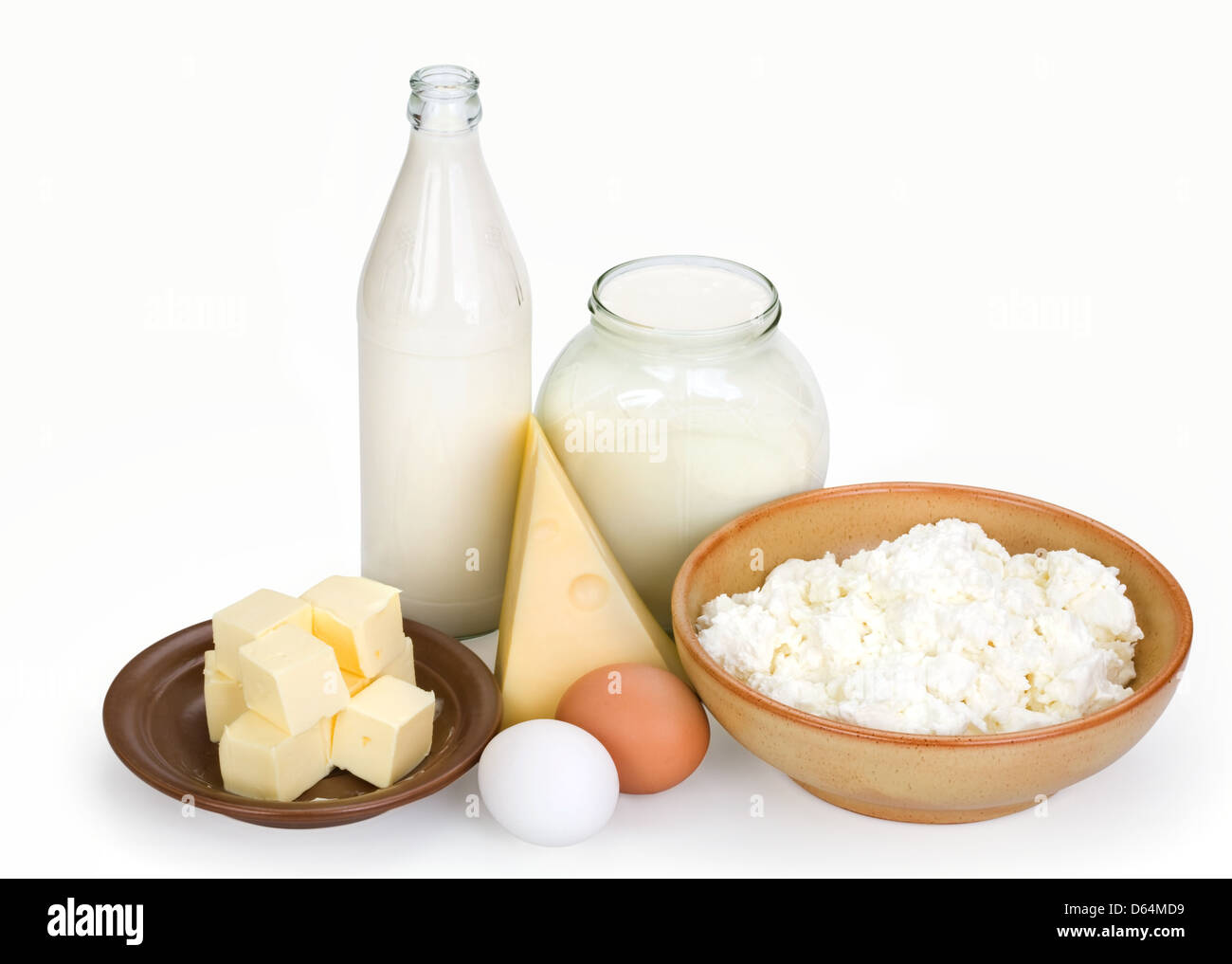 dairy products and eggs - Stock Image