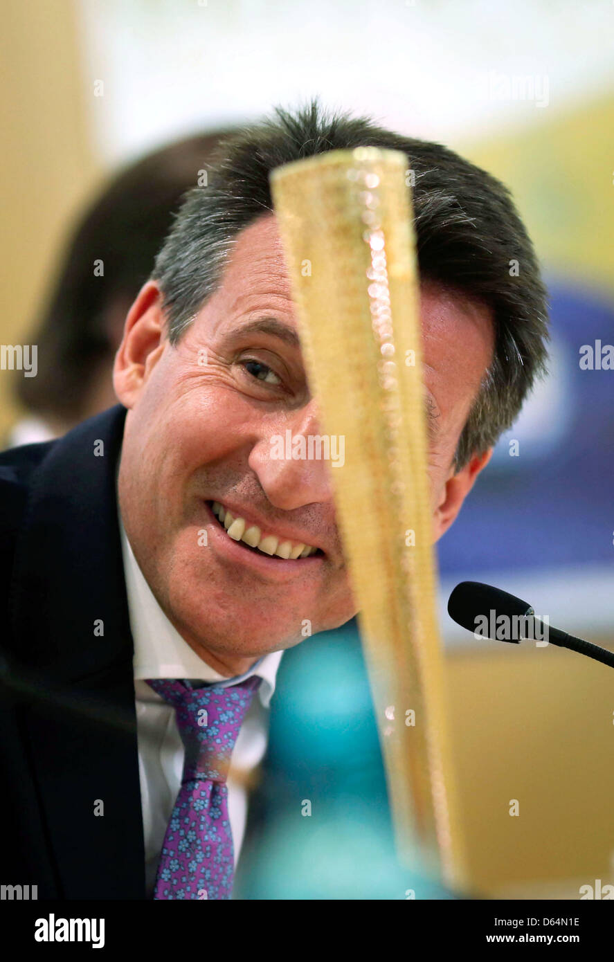 Chairman of the London Organising Committee for the Olympic Games 2012 in London Lord Sebastian Coe sits next to - Stock Image