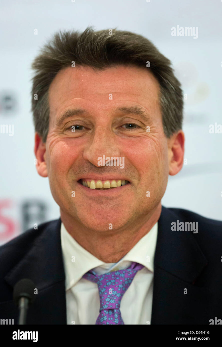Chairman of the London Organising Committee for the Olympic Games 2012 in London Lord Sebastian Coe smiles at a - Stock Image