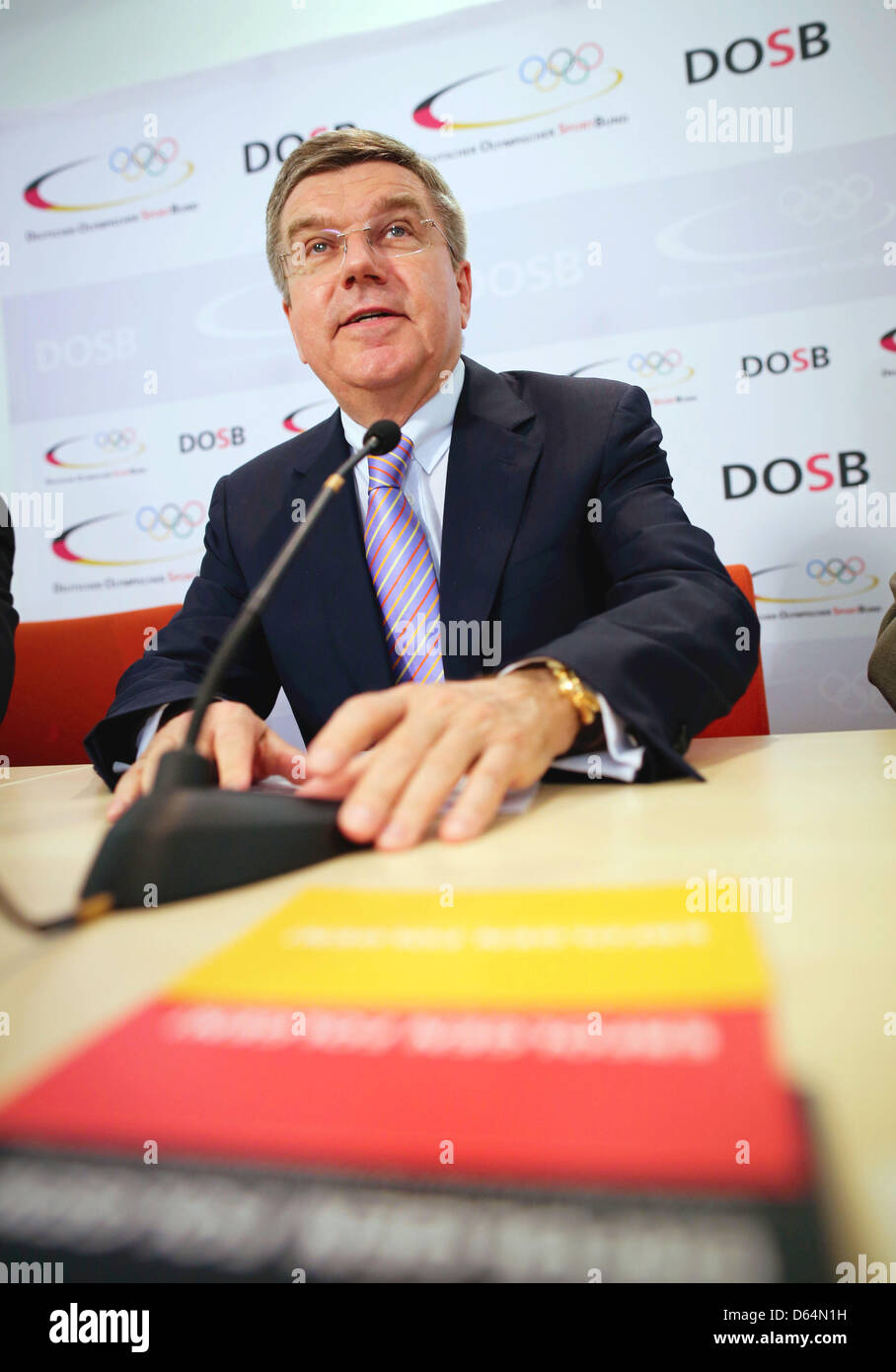 President of the German Olympic Sports Confederation (DOBS) Thomas Bach speaks at a press conference in Frankfurt - Stock Image