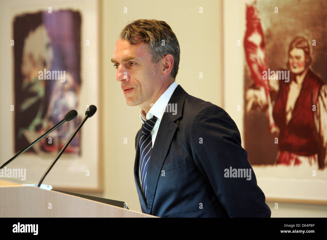 German artist Neo Rauch speaks during a press conference on the opening of the 'Grafikstiftung Neo Rauch' (Grafics Stock Photo
