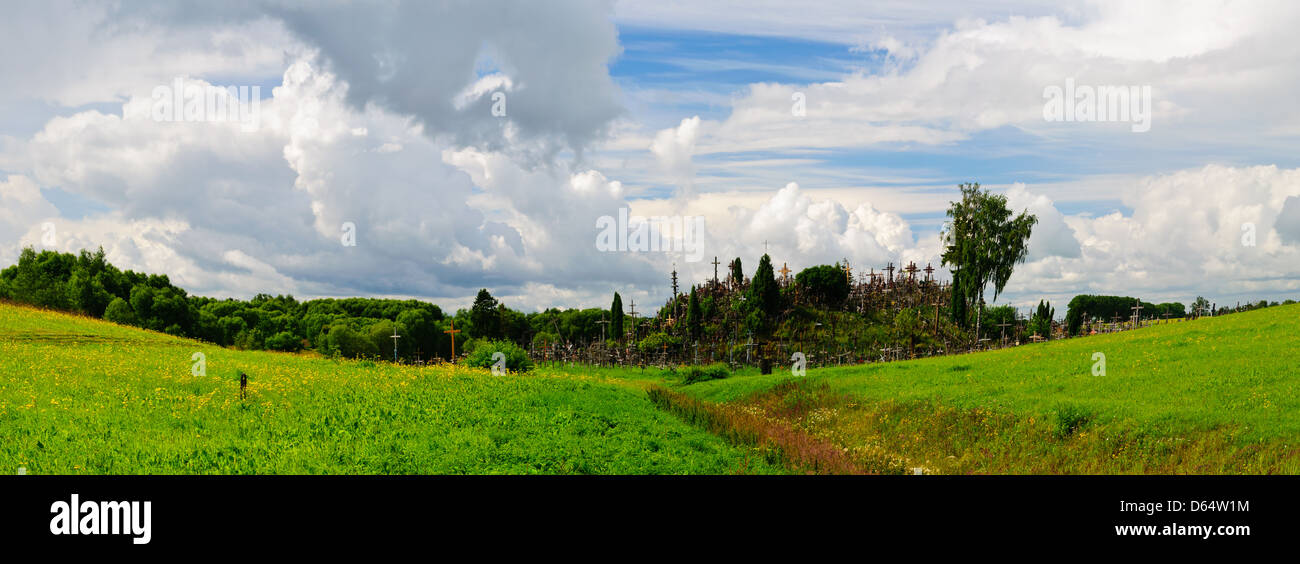 panorama landscape with hill of crosses in lithuania - Stock Image