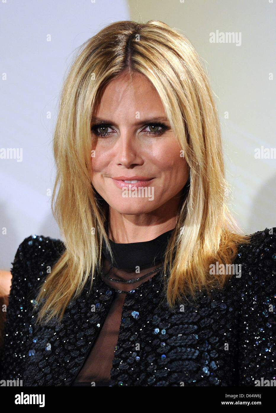 'Germany's next Topmodel' presenter and chief judge Heidi Klum poses for photographs at a press conference - Stock Image