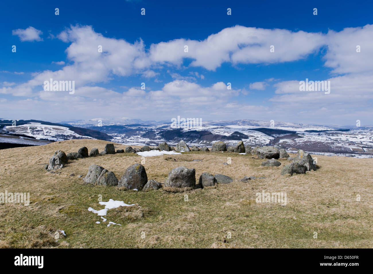Moel Ty Uchaf Stone Circle, near Llandrillo, Denbighshire/Sir Ddinbych, with spectacular views stretching out towards - Stock Image