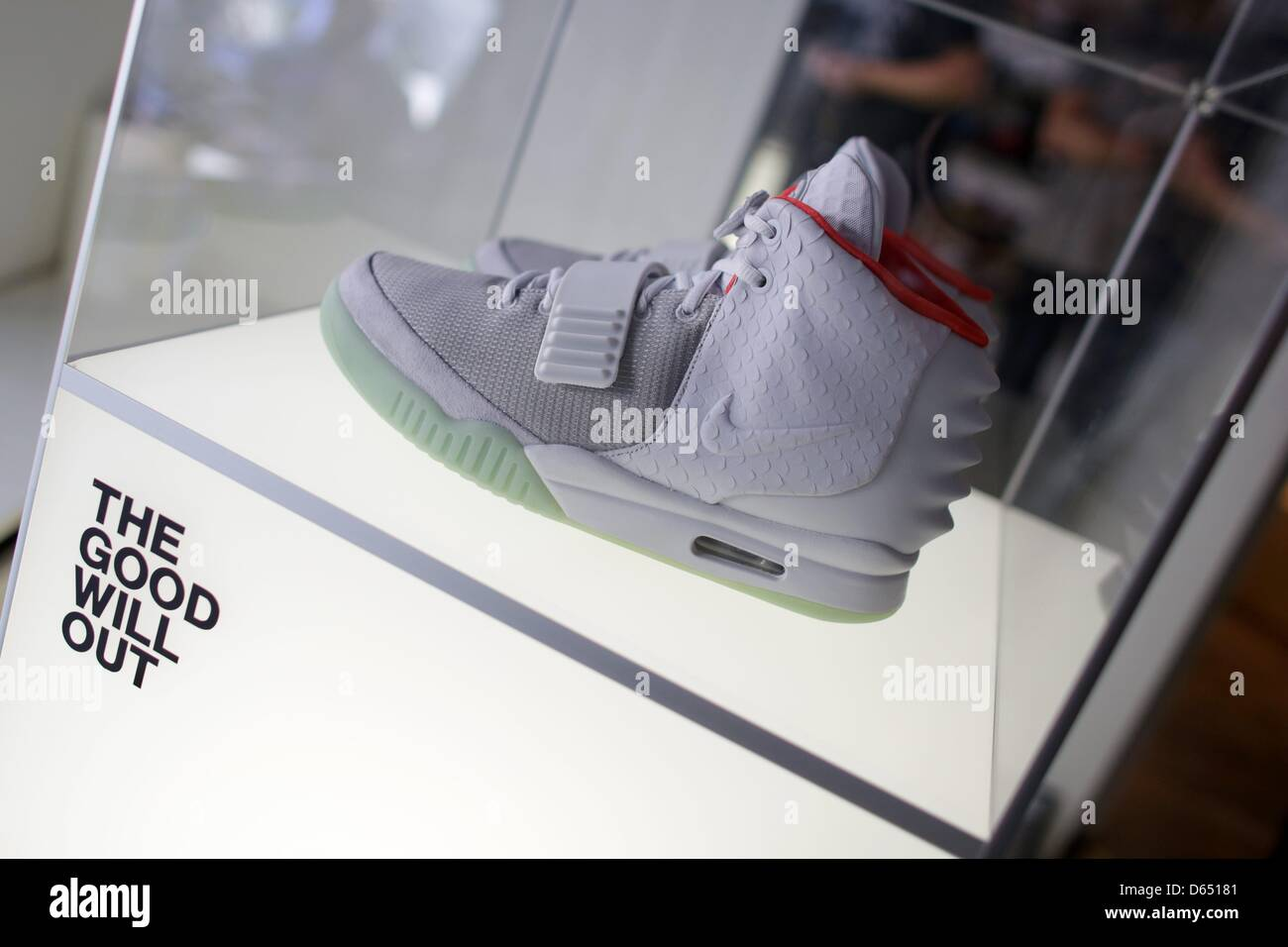 The Nike Air Yeezy II is displayed at 'The Good Will Out' sneaker store in Cologne, Germany, 08 June 2012. - Stock Image