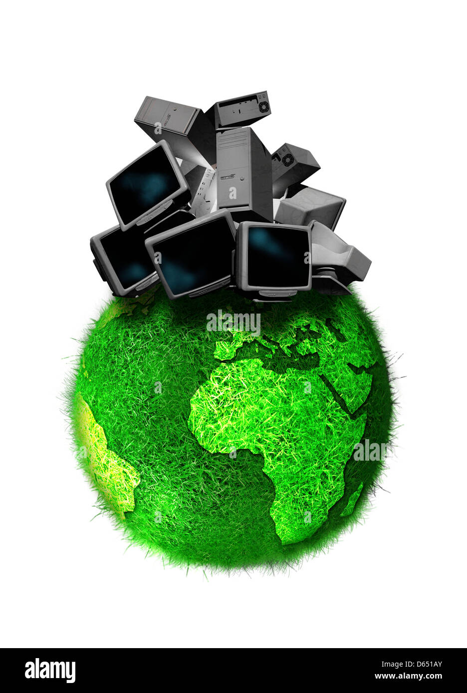 Recycling obsolete technology, artwork - Stock Image