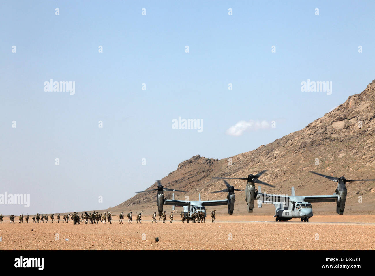 US Marine Corps MV-22B Osprey aircraft with Marine Medium Tiltrotor Squadron 264 board a joint military operation Stock Photo