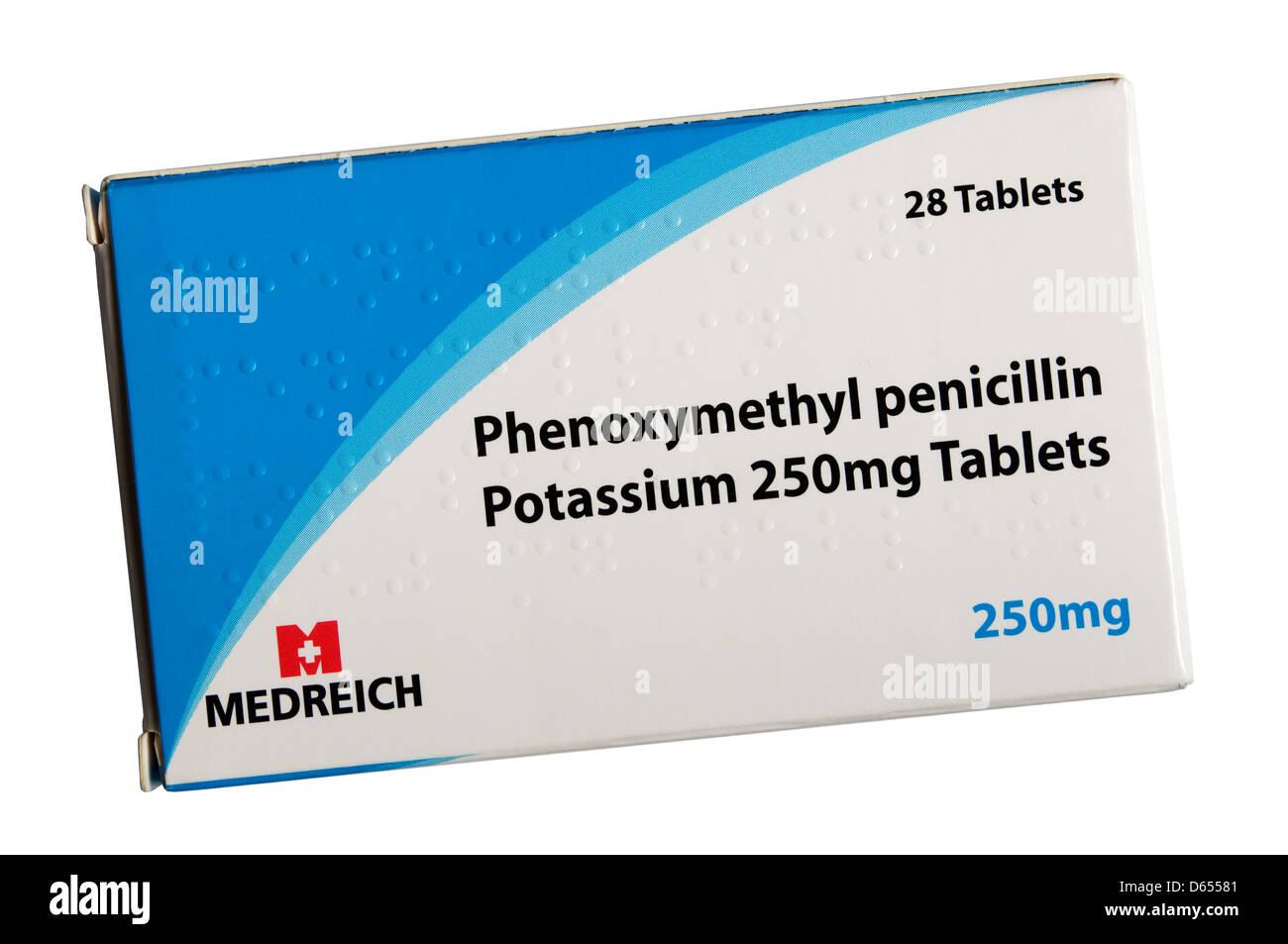 A box of Phenoxymethyl penicillin antibiotics. - Stock Image