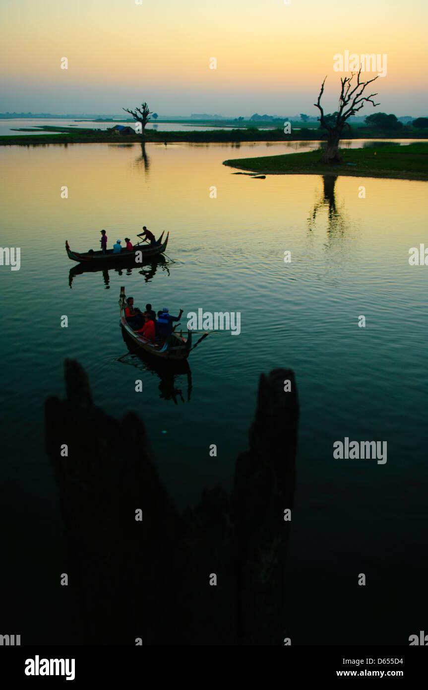 sunset view of Thaungthaman Lake, Amarapura, Myanmar - Stock Image